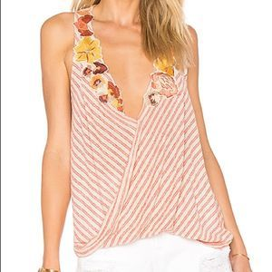 FREE PEOPLE Frida Floral Appliqué Embroidered Tank